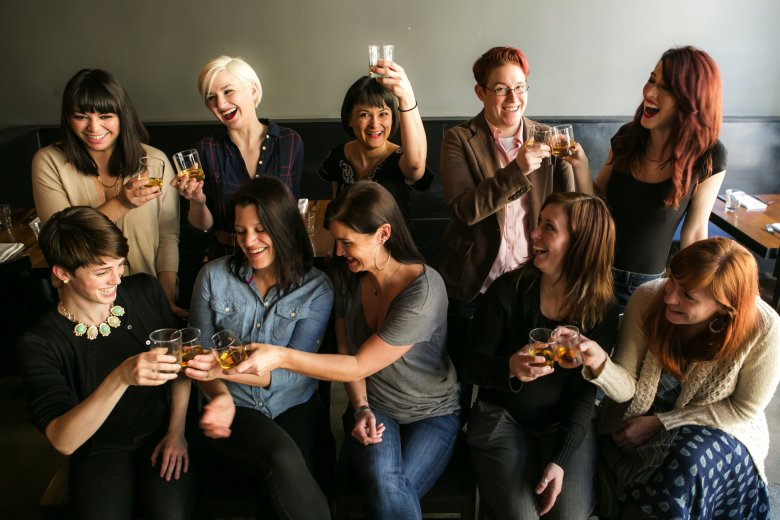 "A portrait of The Women who Love Whiskey club as they meet for a drink at re:public in the South Lake Union neighborhood in Seattle Monday March 16, 2015. The group was formed in late 2014 by Bridget Maloney, top row far left, a bartender at Witness and Tavern Law, and Jamie Buckman, bottom row, second from right, assistant bar manager at Bastille and Stoneburner. ""It's not a competition,"" said Maloney, who described the group as focused, driven and creative women who work in the service industry. They created the group to strengthen camaraderie between each other. ""There is definitely a lot of support,"" Maloney said. For more information about joining, check out their Facebook group at facebook.com/groups/whiskeywomenseattle/"